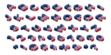 3d rounded isometric usa flag font