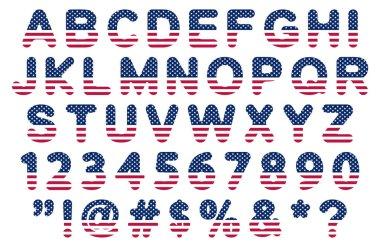 flat usa flag font