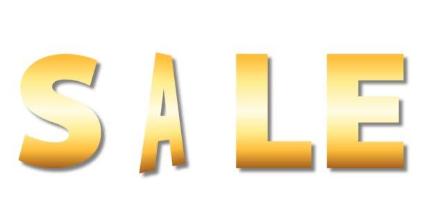 arany színű eladó szöveg rotációs karácsonyfa elszigetelt fehér háttér, luxus üdülési betűkkel, 4k Stock video loop felvétel design elem
