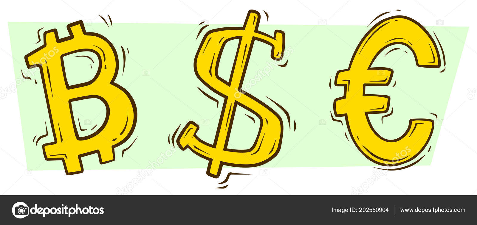 Cartoon Bitcoin Dollar And Euro Sign Vector Set Stock Vector