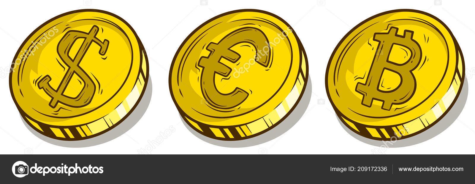 Cartoon Bitcoin Dollar And Euro Coins Vector Set Stock Vector