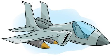 Cartoon cool air Jet Fighter vector icon