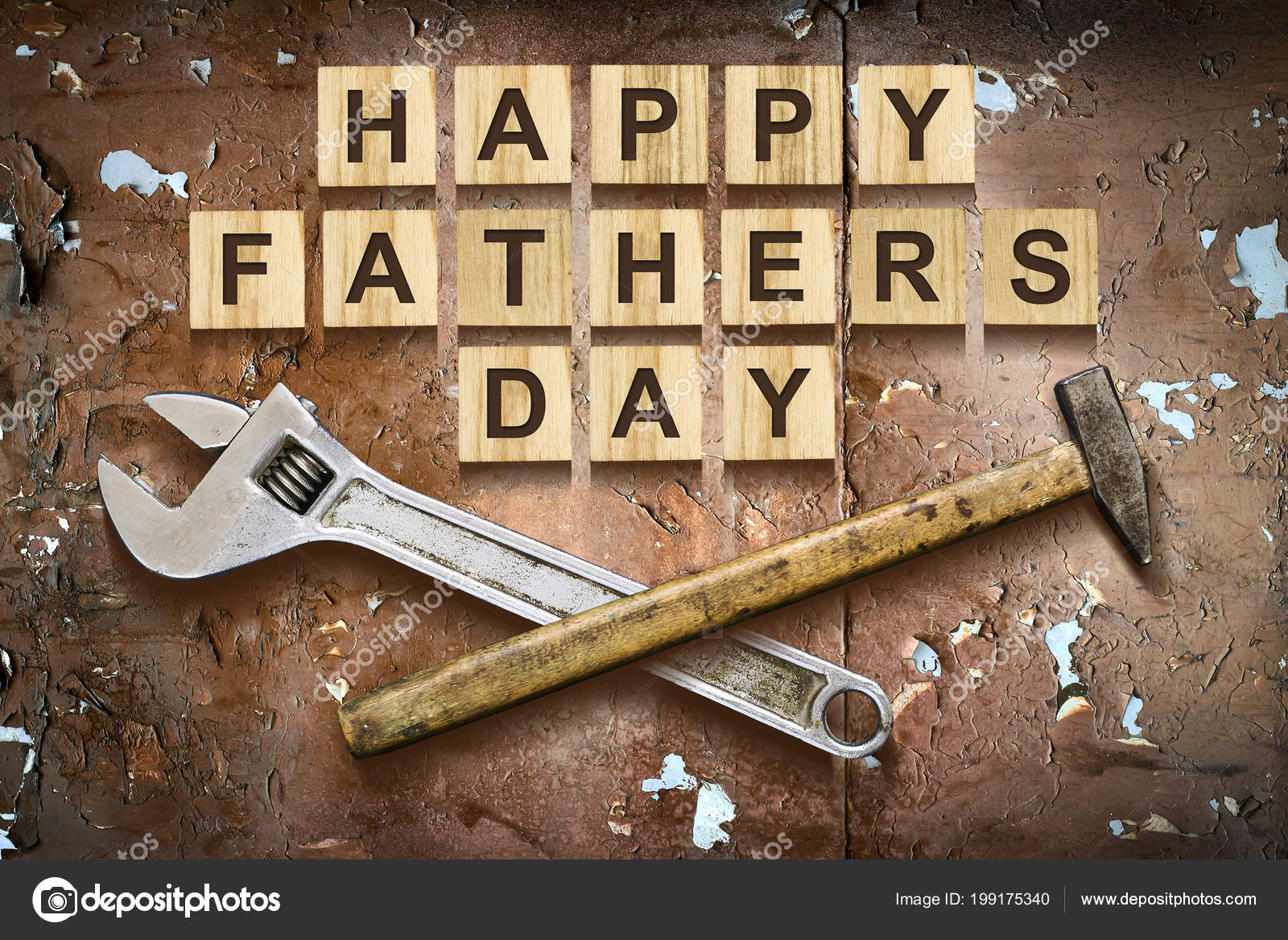 Happy Fathers Day Inscription On Wooden Cubes With Working Tools On