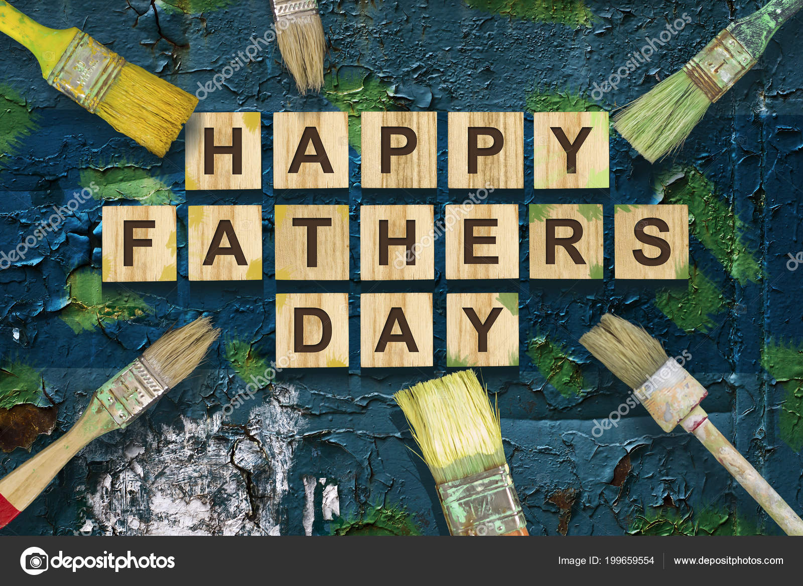 Happy Father Day Inscription Wooden Cubes Different Paint Brushes