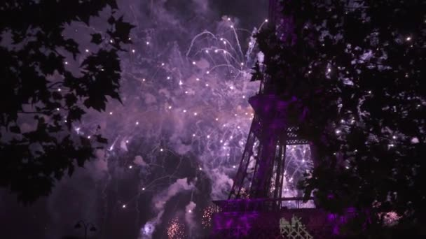 Colorful fireworks at holiday night. Holiday celebration near Eiffel Tower Paris