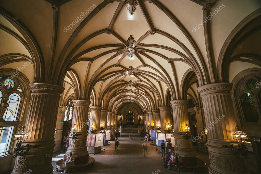 HAMBURG, GERMANY - 20 April 2018: Indoor view of beautiful famous landmark Rathaus town hall building. Hamburg, Germany