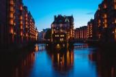 Fotografie Wasserschloss im alten Speicherstadt oder Warehouse District, Hamburg, Deutschland