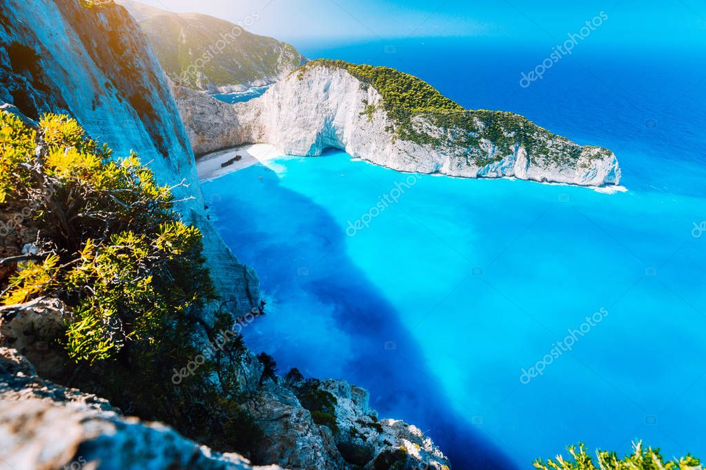 Panorama of Navagio beach Shipwreck bay Zante from view point. Zakynthos Greece
