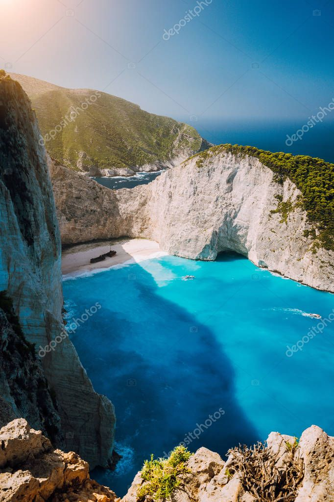 Navagio beach Shipwreck bay Zante from view point. Zakynthos Greece