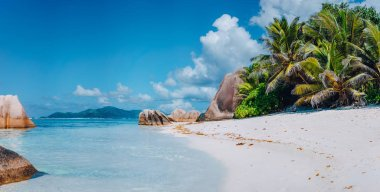 Spectacular Anse Source dArgent beach on island La Digue in Seychelles. Paradise relaxation summer vacation concept