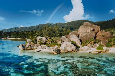 The most beautiful Anse Source DArgent tropical beach, La Digue Seychelles. Luxury exotic travel concept
