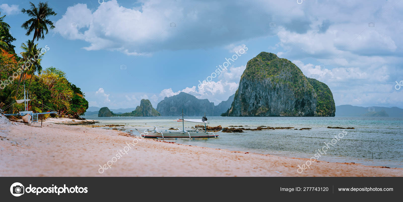 Panoramic View Of El Nido Coastline With Traditional