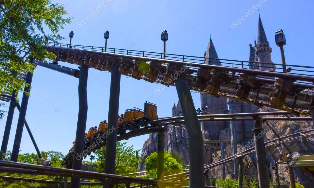 Orlando, Florida, USA - May 09, 2018: Roller Coaster Flight of the Hippogriff. The Wizarding World of Harry Potter. Islands of Adventure. Universal.
