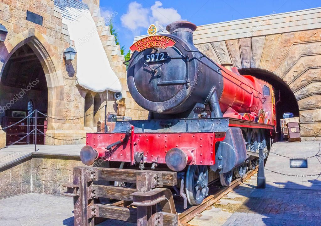 Orlando, Florida, USA - May 09, 2018: The Hogwarts Express at The Wizarding World Of Harry Potter
