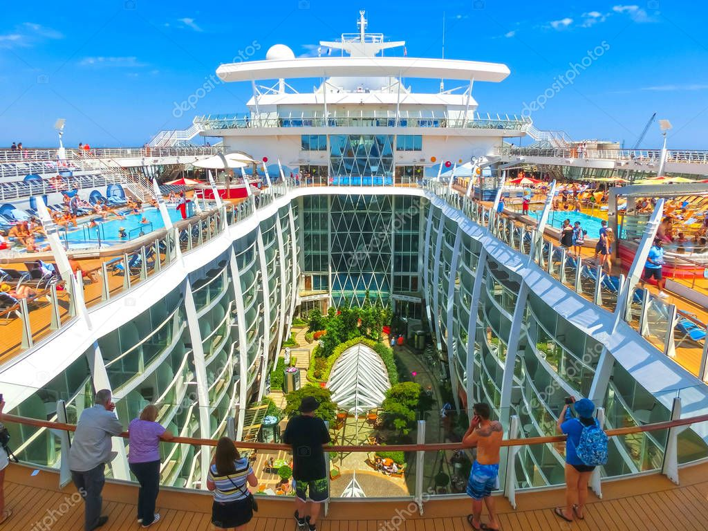 Cape Canaveral, USA - April 29, 2018: The central park at cruise liner or ship Oasis of the Seas by Royal Caribbean