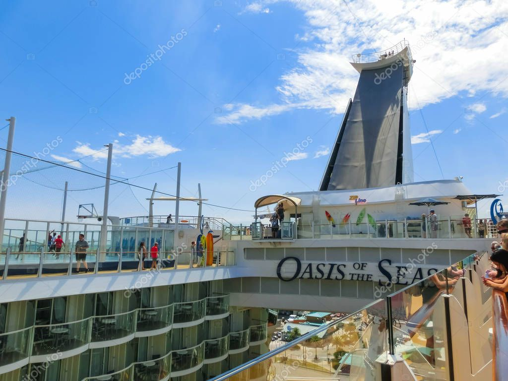 Cape Canaveral, USA - April 29, 2018: The passenger flying at zip line at cruise liner or ship Oasis of the Seas by Royal Caribbean