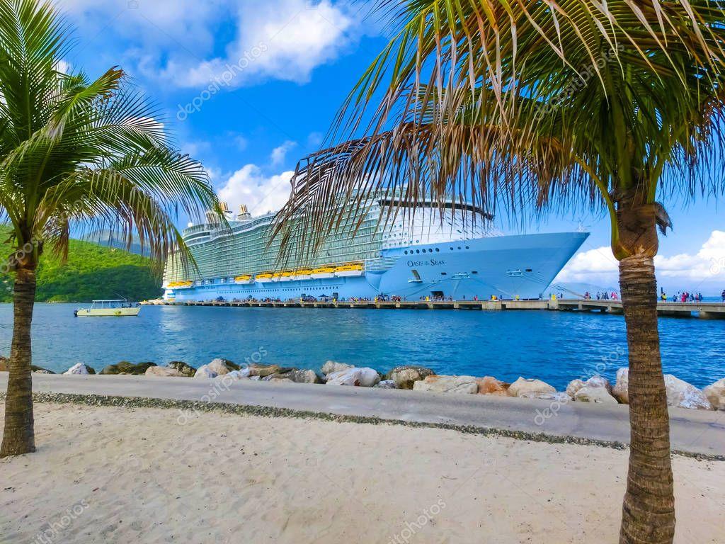 LABADEE, HAITI - MAY 01, 2018: Royal Caribbean cruise ship Oasis of the Seas docked at the private port of Labadee in the Caribbean Island of Haiti