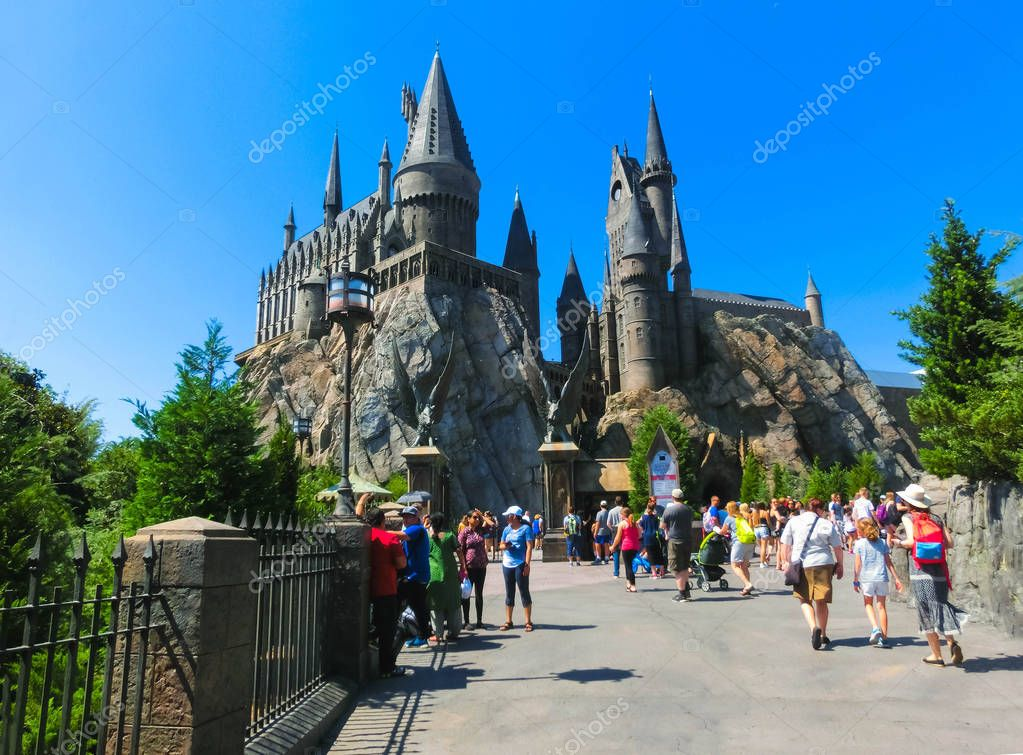 Orlando, Florida, USA - May 09, 2018: The Hogwarts Castle at The Wizarding World Of Harry Potter in Adventure Island of Universal Studios Orlando.