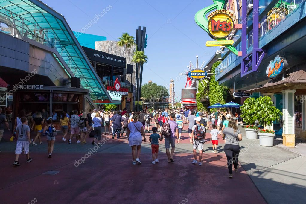 Orlando, USA - May 9, 2018: The Universal City Walk is the mall at the entrance of the Universal Studios Orlando