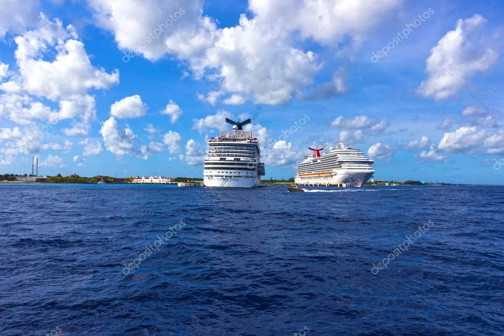 Cozumel, Mexico - May 04, 2018: The Carnival Dream and Carnival Breeze cruise ships in port in Cozumel, Mexico
