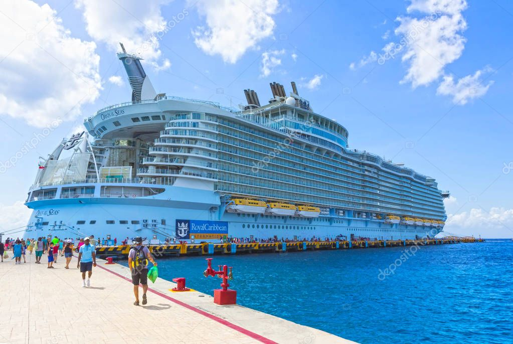 Cozumel, Mexico - May 04, 2018: Royal Carribean cruise ship Oasis of the Seas docked in the Cozumel port during one of the Western Caribbean cruises