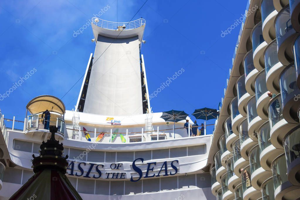 Cape Canaveral, USA - April 29, 2018: The zip line at cruise liner or ship Oasis of the Seas by Royal Caribbean docked in Cape Canaveral, USA on April 29, 2018. The air attraction is located on the