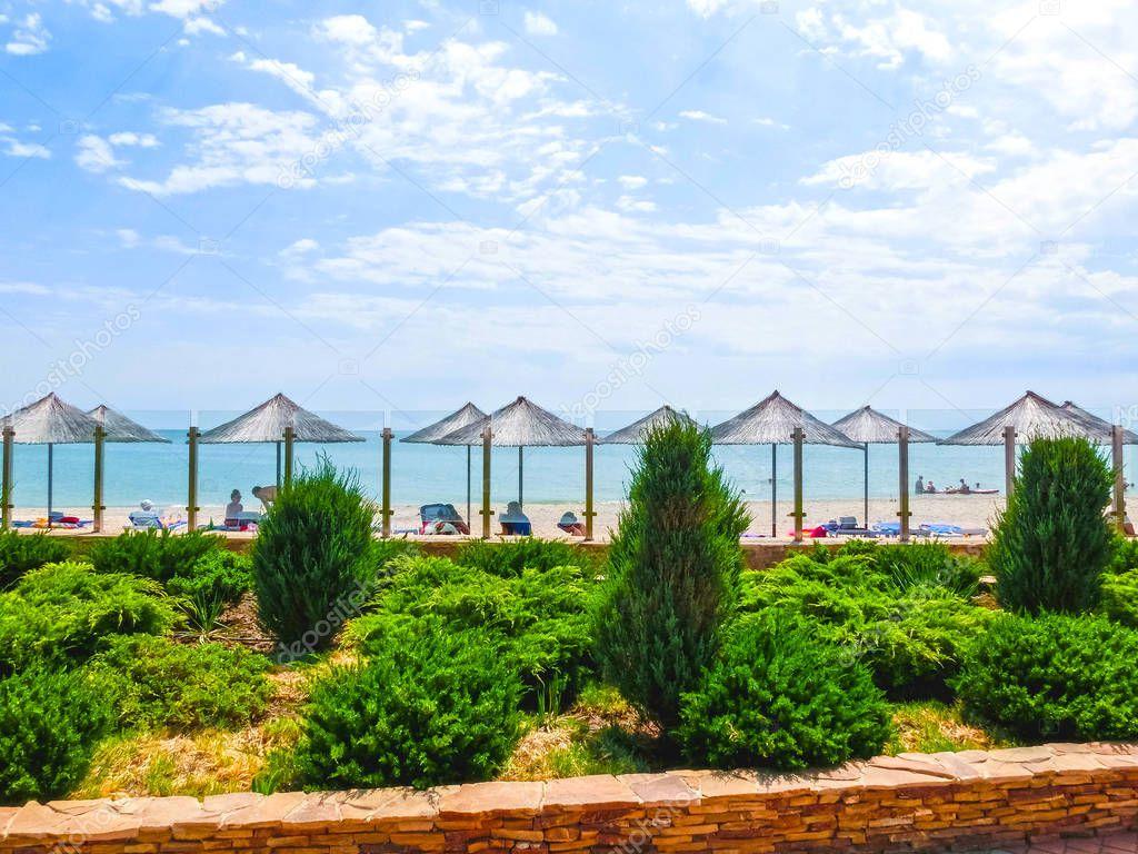 Berdyansk, Ukraine June 30, 2018: The Sun Resort Hotel at sea of Azov beach