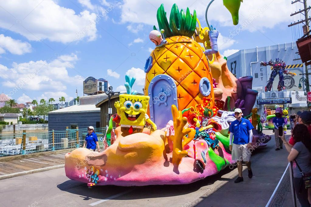 Orlando, USA - May 8, 2018: The large parade with performers at Universal Studio park on May 8, 2018.