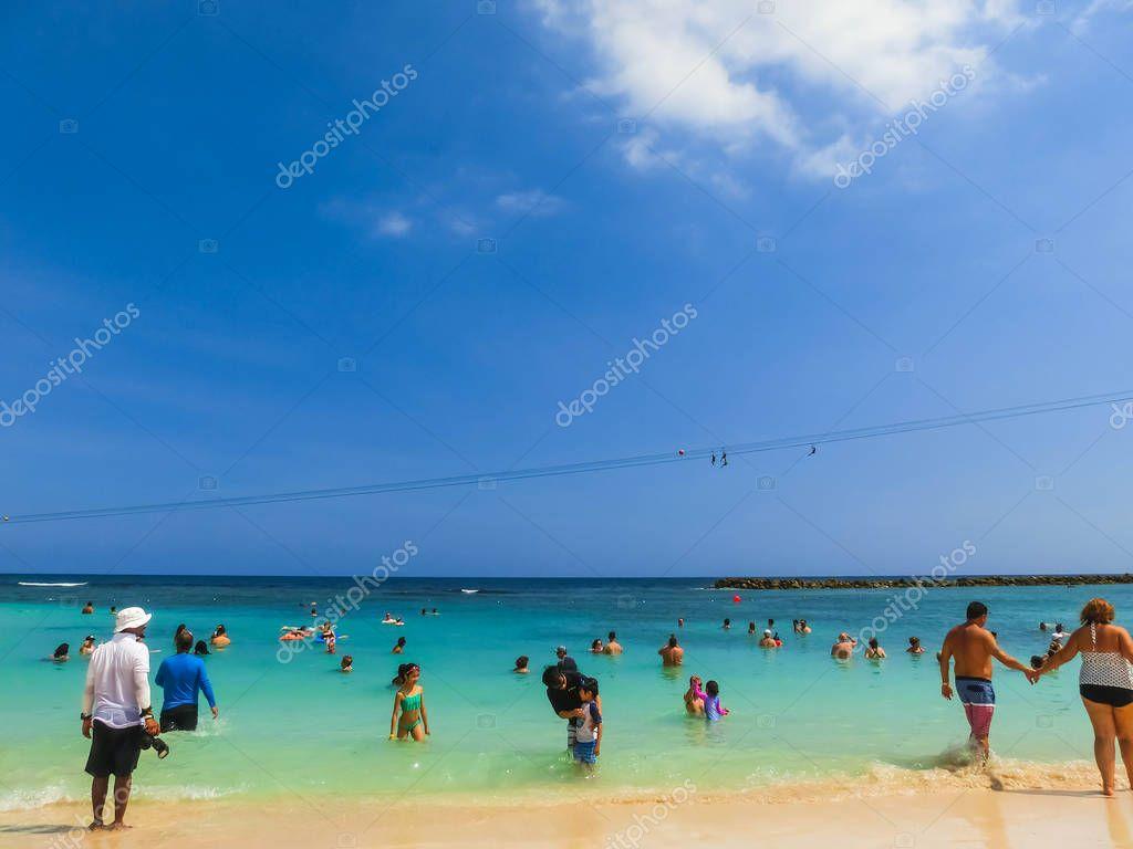 LABADEE, HAITI - MAY 01, 2018: People enjoying day on beach in Haiti