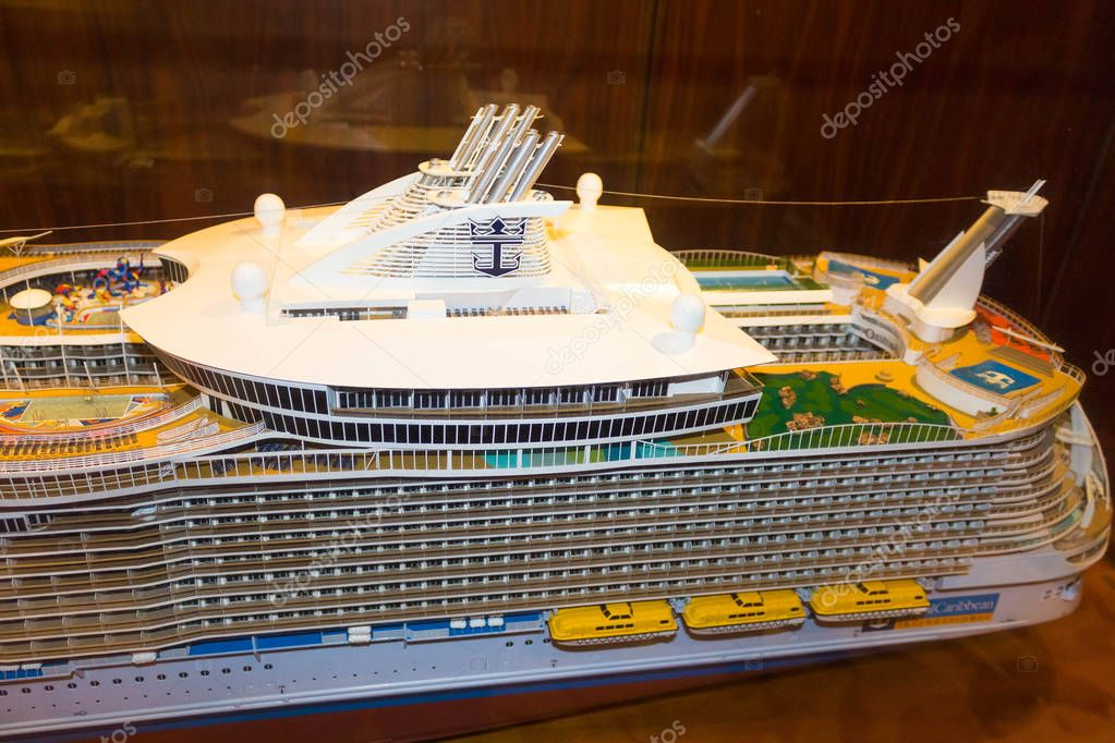 Cape Canaveral, USA - May 2, 2018: The mini model of cruise liner or ship Oasis of the Seas by Royal Caribbean