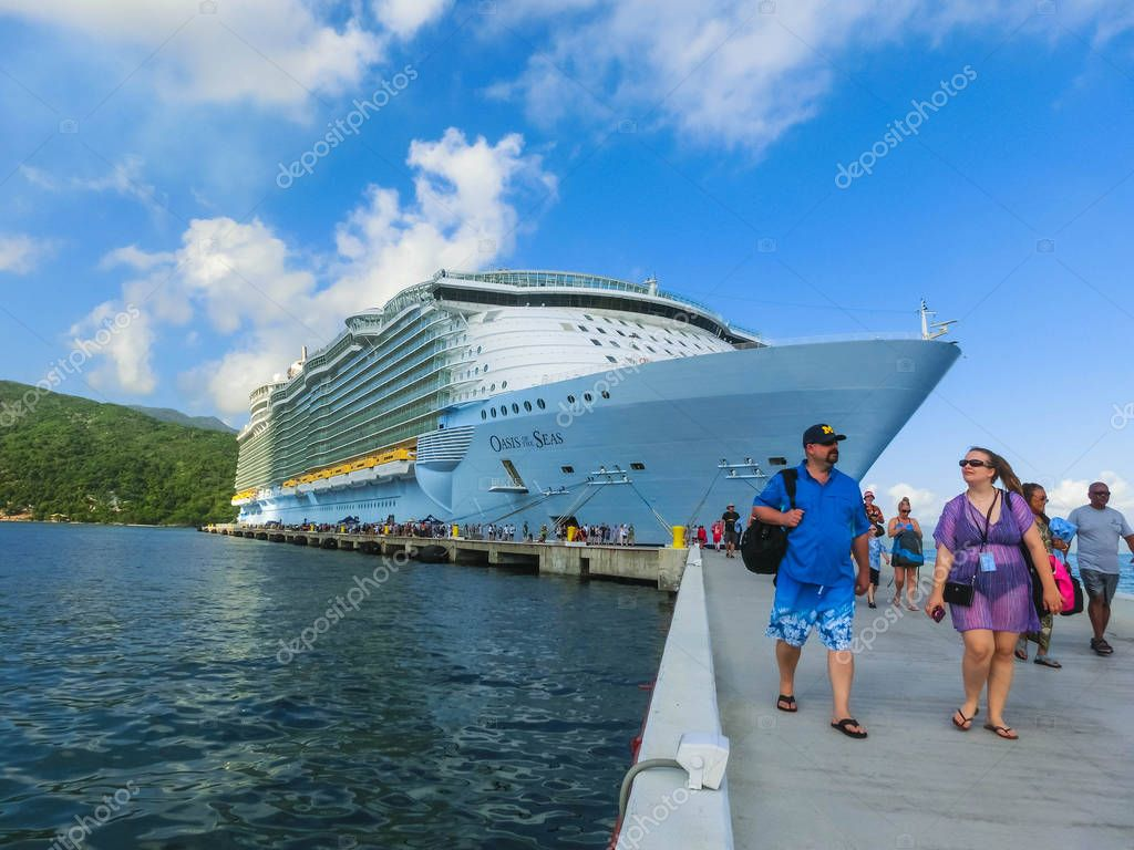 LABADEE, HAITI - MAY 01, 2018: Royal Caribbean, Oasis of the Seas docked in Labadee, Haiti on May 1 2018.