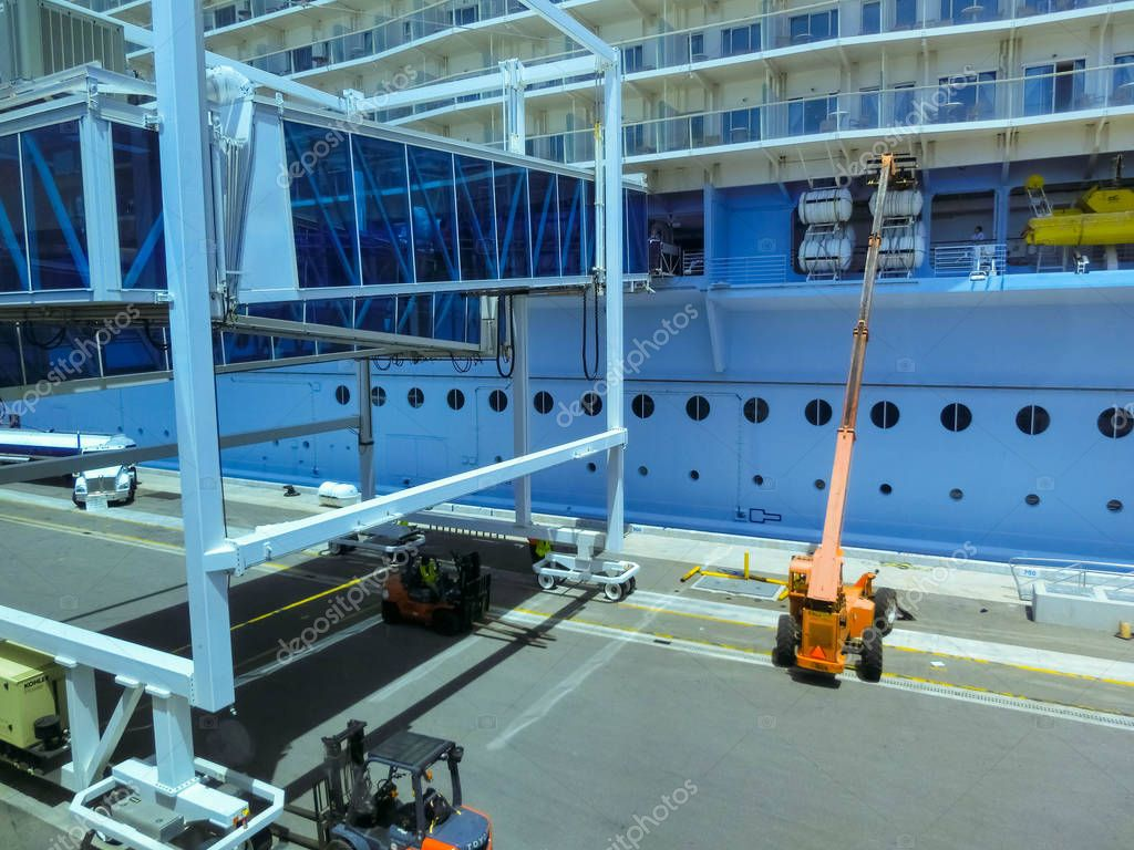 Cape Canaveral, USA - April 29, 2018: Royal Caribbean, Oasis of the Seas docked in Labadee, Haiti on May 1 2018.