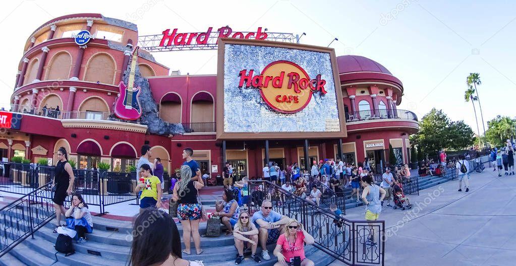 Orlando, USA - May 8, 2018: The Hard Rock Cafe at Universal City Walk