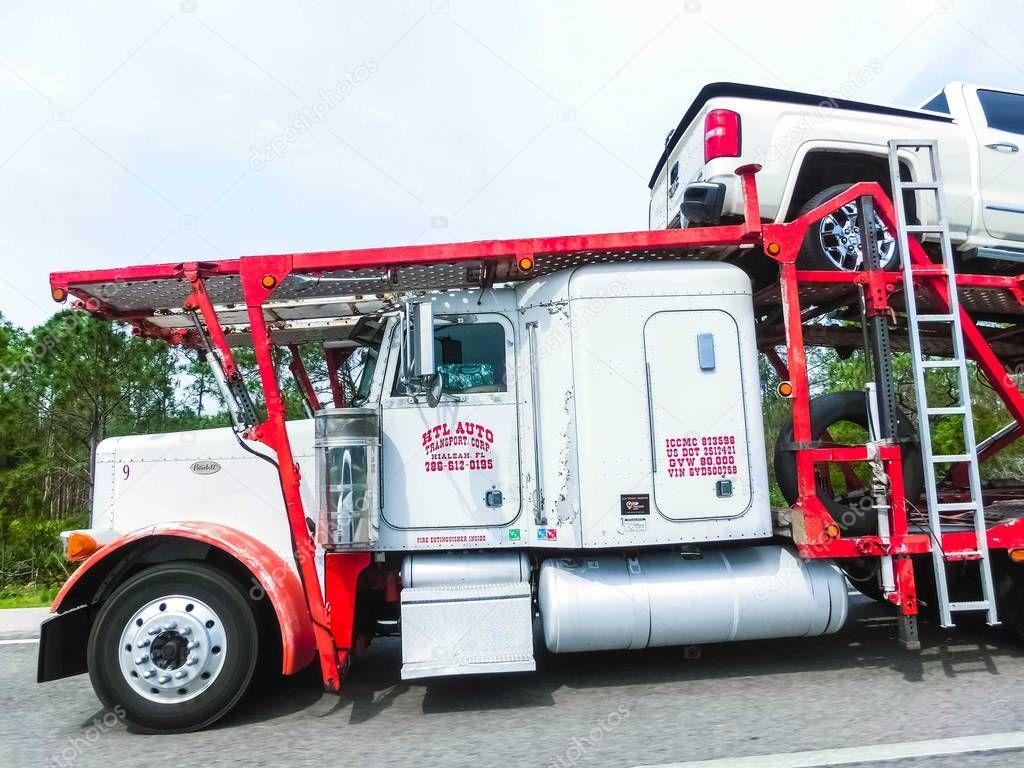 Orlando, Florida, USA - May 10, 2018: American style truck on freeway road at Orlando, Florida, USA
