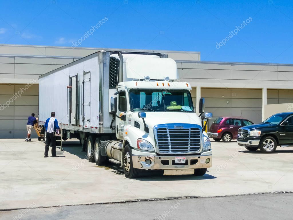 Orlando, Florida, USA - May 10, 2018: American style truck on freeway road at Orlando, Florida, USA