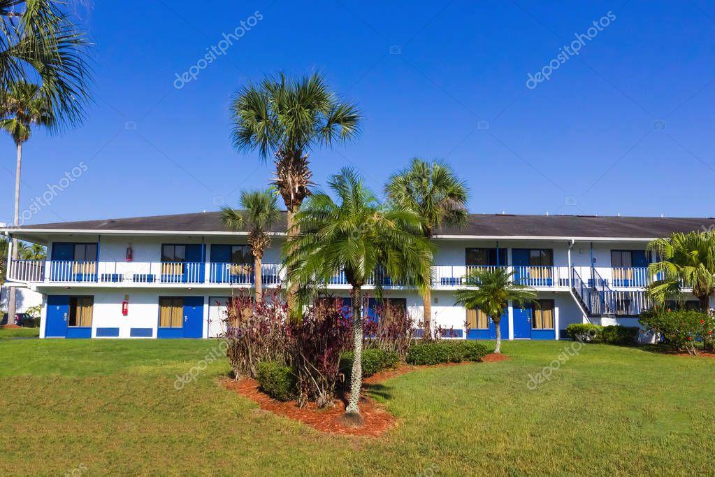 Orlando, Florida - May 8, 2018: Swimming pool in Rodeway Inn Maingate resort or hotel at Orlando, Florida, USA