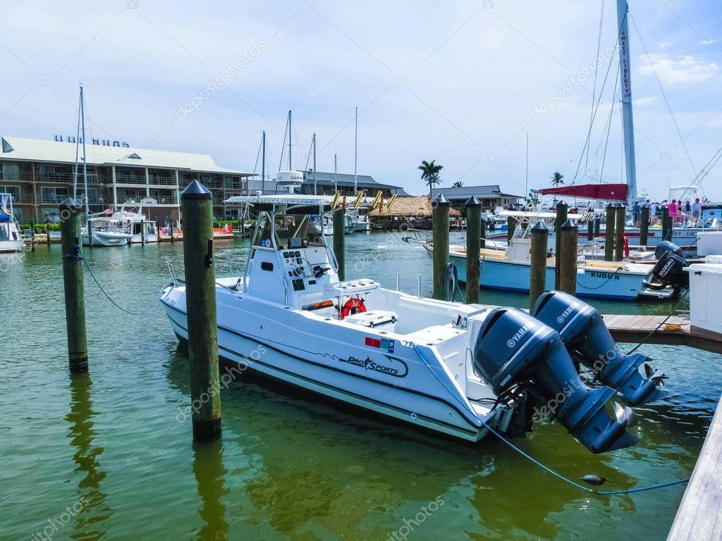 Naples, USA - May 8, 2018: Boat marina and waterfront in Naples, Florida