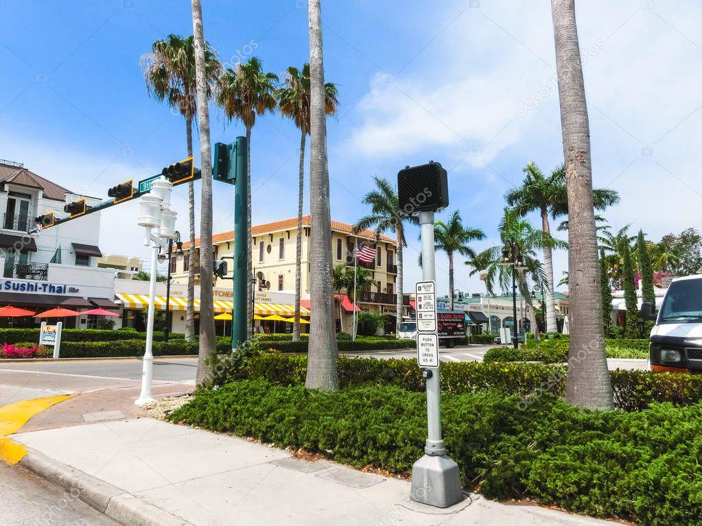 Naples, USA - May 8, 2018: Beautiful house at the beach of Naples, Florida USA