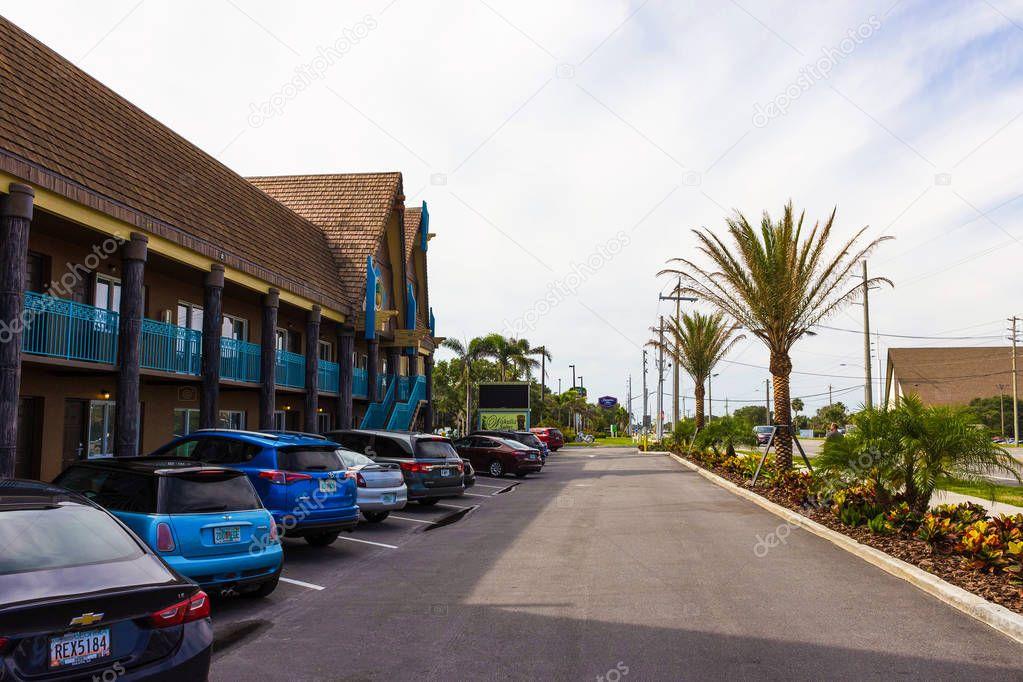 Cocoa beach, Florida, USA - April 29, 2018: The Vakulla suites beach hotel
