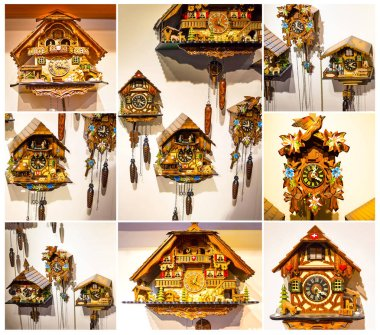 The lot of swiss wooden clocks
