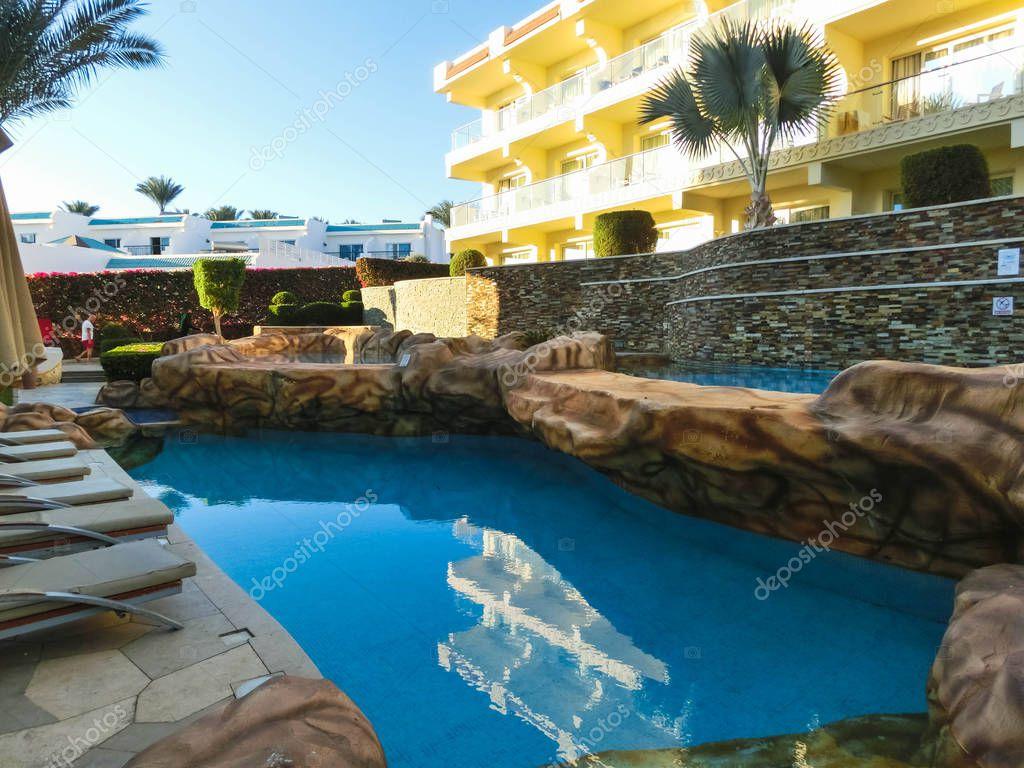 Sharm El Sheikh, Egypt - December 31, 2018: Tropical luxury Xperience Sea Breeze Resort on Red Sea beach.