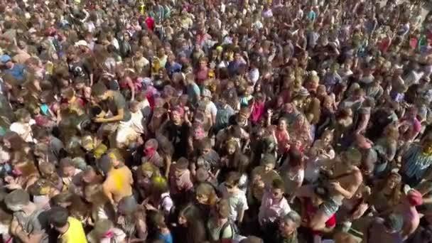 Kharkiv, Ukraine - Apr 30, 2017: crowd of colorful people at Holi fest aerial