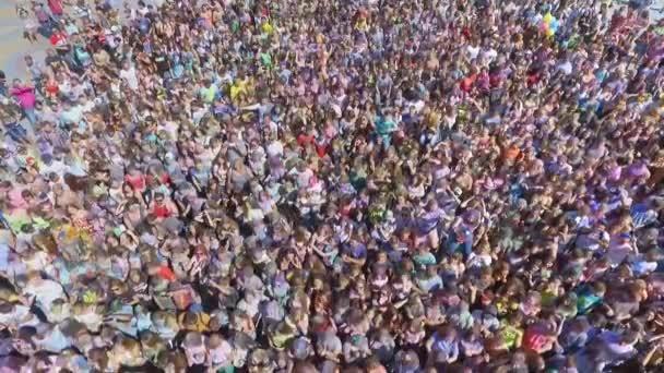 Kharkiv, Ukraine - Jun 18, 2017: aerial shot of colorful crowd at Holi festival