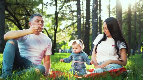 happy family with baby girl spending time in summer park blowing soap bubbles