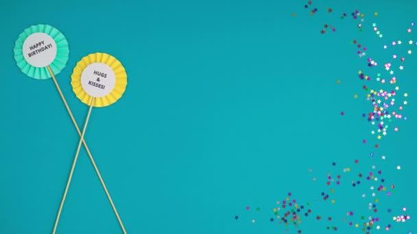 časový interval zobrazující se sady topičů s přáním narozenin na modrém pozadí