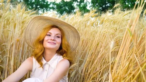 portrait of joyful young red haired woman sitting in wheat field in summer