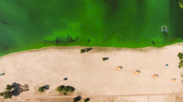 vzdušný vrchol prázdné pláže poloviční písek půlka zelené vody znečištěná řasami