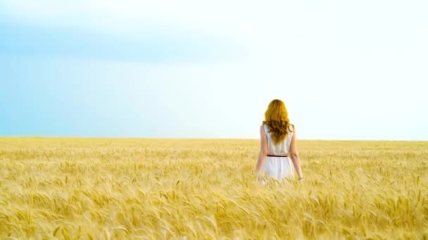 back view of young red haired woman walking on golden wheat field on sunny day
