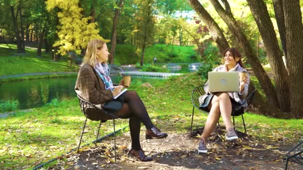 Attractive business women working with laptop in autumn park