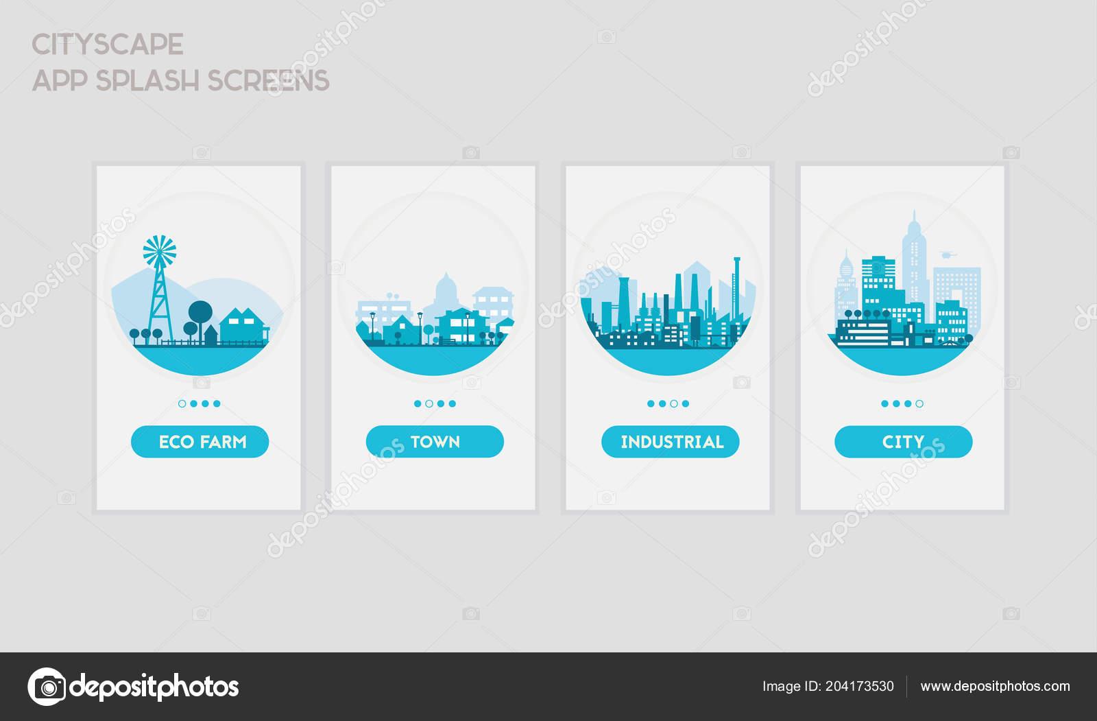 flat design responsive mobile app splash screens template trendy